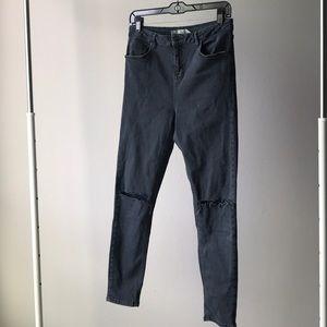 High waisted skinny moto jeans